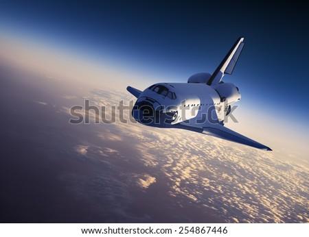 Space Shuttle Landing. 3D Scene.