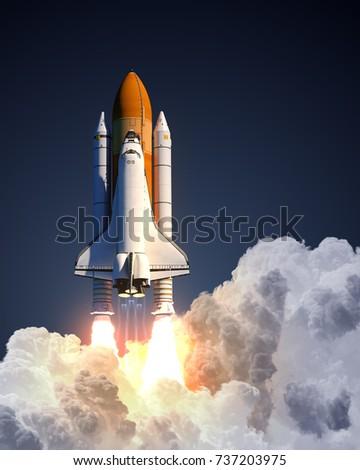Space Shuttle Launch. 3D Illustration.