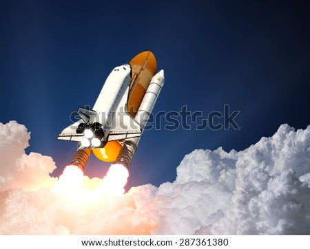 Stock Photo Space Shuttle Launch. 3D Scene.