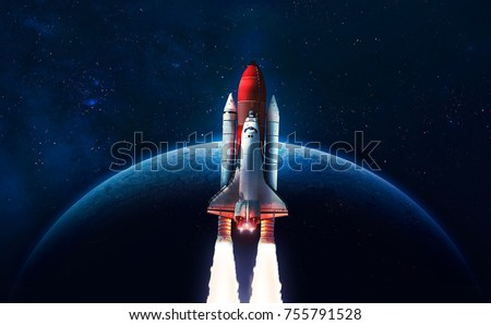 Stock Photo Space shuttle launch in the open space over the Earth. Blue gradient. Space art wallpaper. Elements of this image furnished by NASA