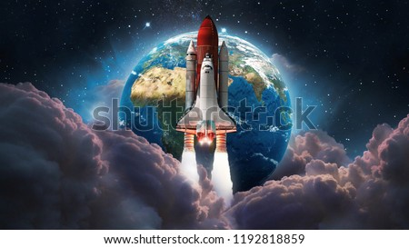 Space shuttle launch in the space. Earth and pink clouds on background. Space art wallpaper. Galaxy lights. Elements of this image furnished by NASA