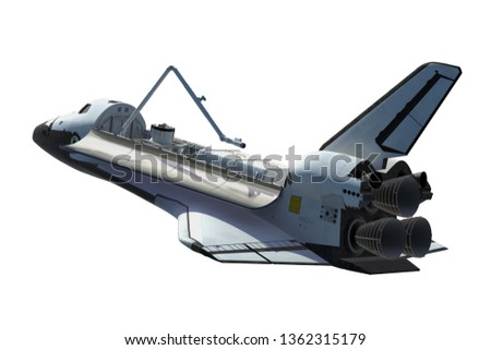 Space Shuttle Orbiter Isolated Over White Background. 3D Illustration.