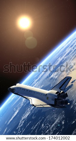 Space shuttle orbiting earth. 3D Model. Elements of this image furnished by NASA.