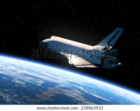Stock Photo Space Shuttle Orbiting Earth. 3D Scene. Elements of this image furnished by NASA.