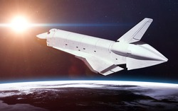 Space Shuttle Orbiting Earth. Elements of this image furnished by NASA