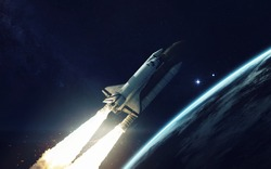 Space shuttle orbiting Earth planet. Elements of this image furnished by NASA