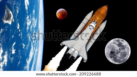 Stock Photo Space shuttle rocket launch moon planet spaceship background. Elements of this image furnished by NASA.