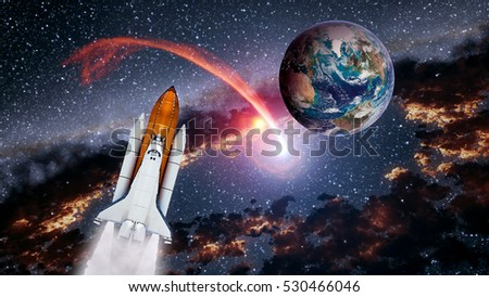 Space shuttle spaceship launch spacecraft planet Earth rocket ship mission universe. Elements of this image furnished by NASA. #530466046