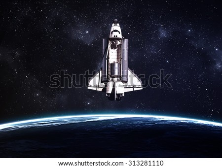 Space shuttle taking off on a mission. Elements of this image furnished by NASA