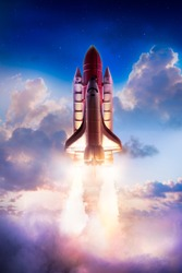 Space shuttle taking off on a mission / Photo composite of a repainted toy in a cloud background