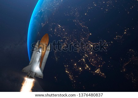 space shuttle voyage through the galaxy and planets, elements of this image furnished by nasa