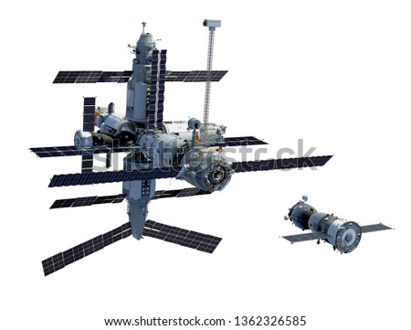 Space Station And Spacecraft Isolated On White Background. 3D Illustration.