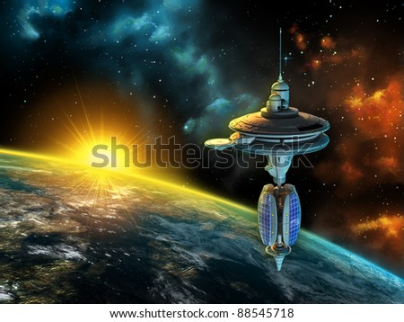 Stock Photo Space station over a gorgeous space panorama. Digital illustration.