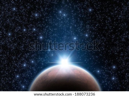 Space sunrise from a distant constellation. Elements of this image furnished by NASA