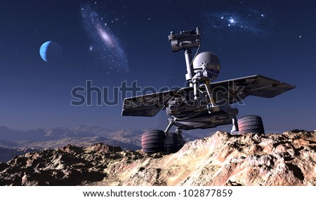 Space transport on the background of the planet.
