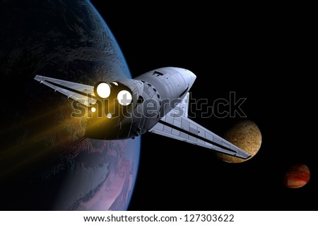 Space Transportation in the night sky.