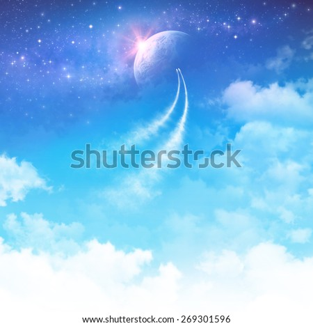 Space travel. Spacecrafts breaking through the clouds toward deep space