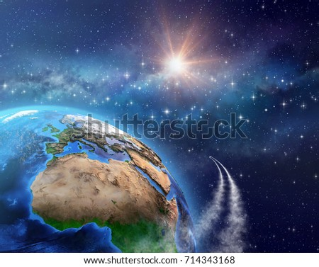 Space travel. Spaceships or satellites in orbit around the Earth, sunlight shining deep behind into space. Elements of this image furnished by NASA - 3D illustration.
