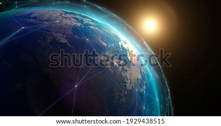 Space view of planet Earth covered with digital connections among artificial satellites transmitting data