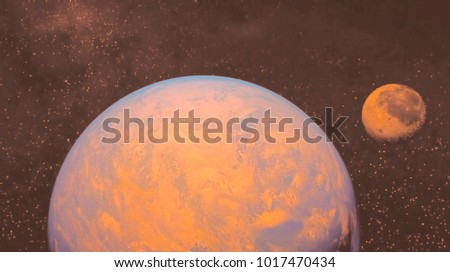 space view of the stars of the sun and planet Earth #1017470434
