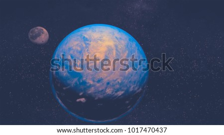 space view of the stars of the sun and planet Earth #1017470437
