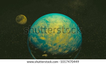 space view of the stars of the sun and planet Earth #1017470449