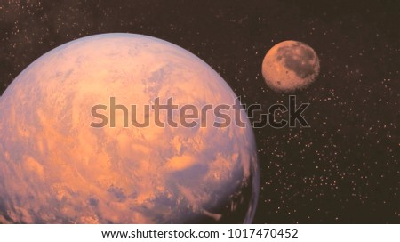 space view of the stars of the sun and planet Earth #1017470452