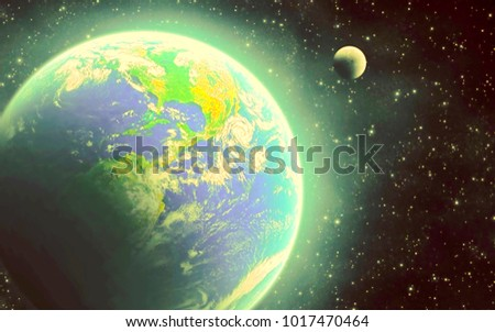 space view of the stars of the sun and planet Earth #1017470464