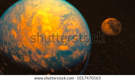 space view of the stars of the sun and planet Earth #1017470563