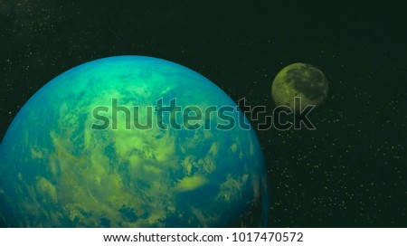 space view of the stars of the sun and planet Earth #1017470572