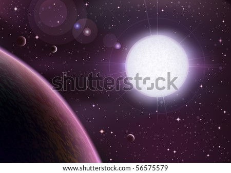 Space view with a big white star rising over a planet