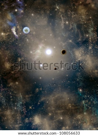 space with star-field planet  nebulous and fog