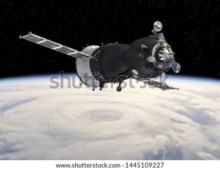 Spacecraft at the Earth orbit. 3D render