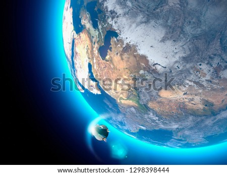 Spacecraft, crew carrier orbital capsule. Orbit around the Earth. Satellite view of the Earth. Atmosphere, friction. Elements of this image are furnished by NASA. 3d rendering