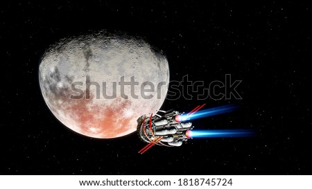 spacecraft flies over a alien planet, space tourism, tourist spacecraft, commercial flights, spacecraft over a detailed planet, spaceship near an exoplanet 3d render