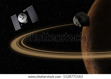 Spacecraft flying to unknown planet, stars and nebula in outer space. Space exploration. 3d illustration.