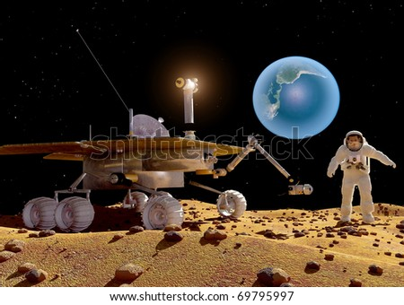Spacecraft on the background of the planet.