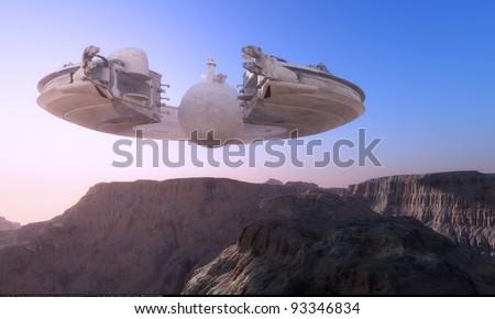 Spacecraft over the mountainous terrain of the planet. - stock photo