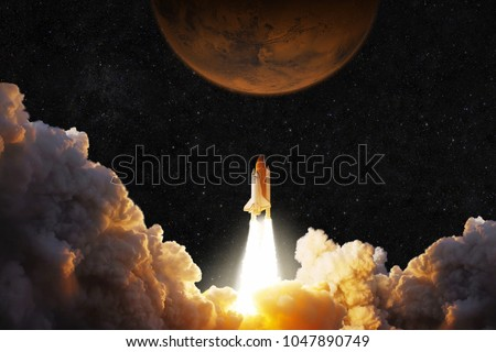 Spacecraft takes off into space. Rocket flies to Mars. Red planet Mars in space
