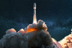 Spacecraft takes off into the starry blue sky with the milky way. Successful launch of a rocket into space. Travel the universe and explore space