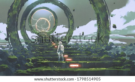 spaceman standing on the futuristic stairs and looking at the light at the end, digital art style, illustration painting