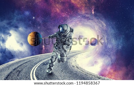 Spaceman steal planet. Mixed media