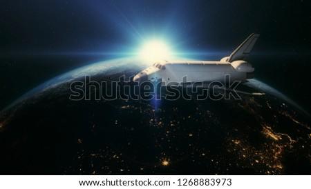 Spaceship above earth