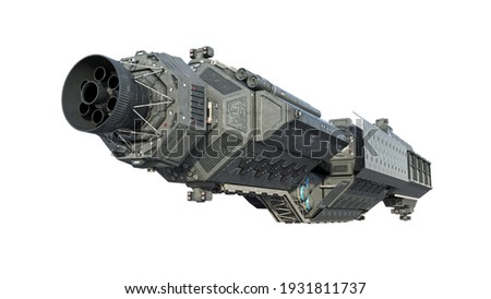 Spaceship, alien UFO spacecraft in flight isolated on white background, rear view, 3D rendering