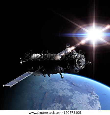 Spaceship at the Earth orbit 3d render