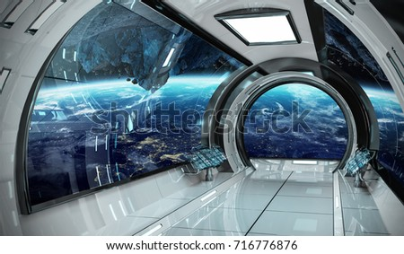 Spaceship bright interior with view on planet Earth 3D rendering elements of this image furnished by NASA