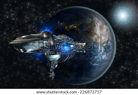 Spaceship fleet leaving Earth as a 3D concept for futuristic interstellar deep space travel for sci-fi backgrounds. Elements of this image furnished by NASA.