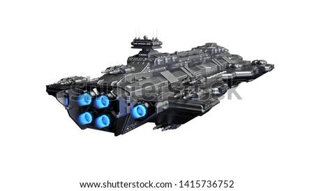Spaceship flying, alien UFO spacecraft in flight isolated on white background, rear view, 3D rendering Foto stock ©