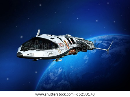 spaceship flying on