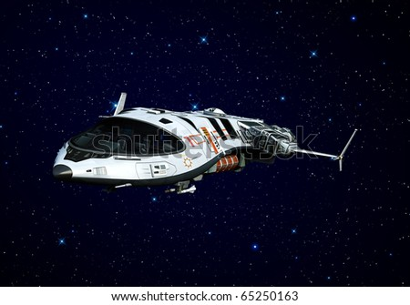 spaceship flying on the stars